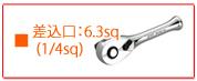 KTC ラチェットレンチ・ラチェットハンドル 差込口 6.3sq